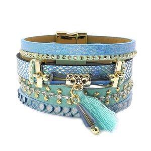 Jewelry - BOGO SALE Turquoise Boho Leather Wrap  Bracelet